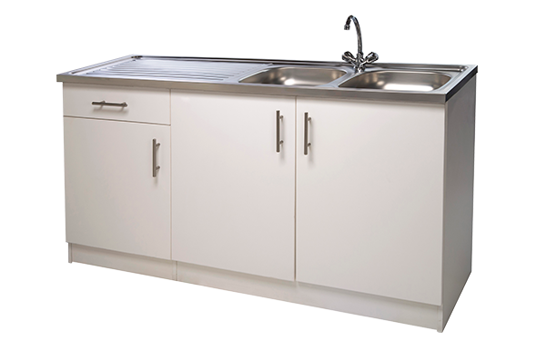 Double bowl sink unit geza sink units for Bathroom cabinets builders warehouse